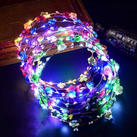 Neu Beliebte Blinkendes LED Glühen Corolla Stirnband Garland Band