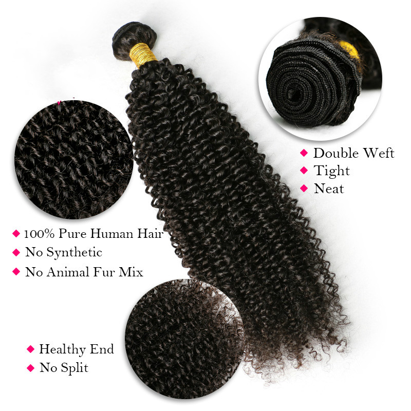 Brazilian Human Hair Weave Bundles With Closure Buy Remy 3 Kinky Curly Wefts with 4X4 Lace Closure Frontal
