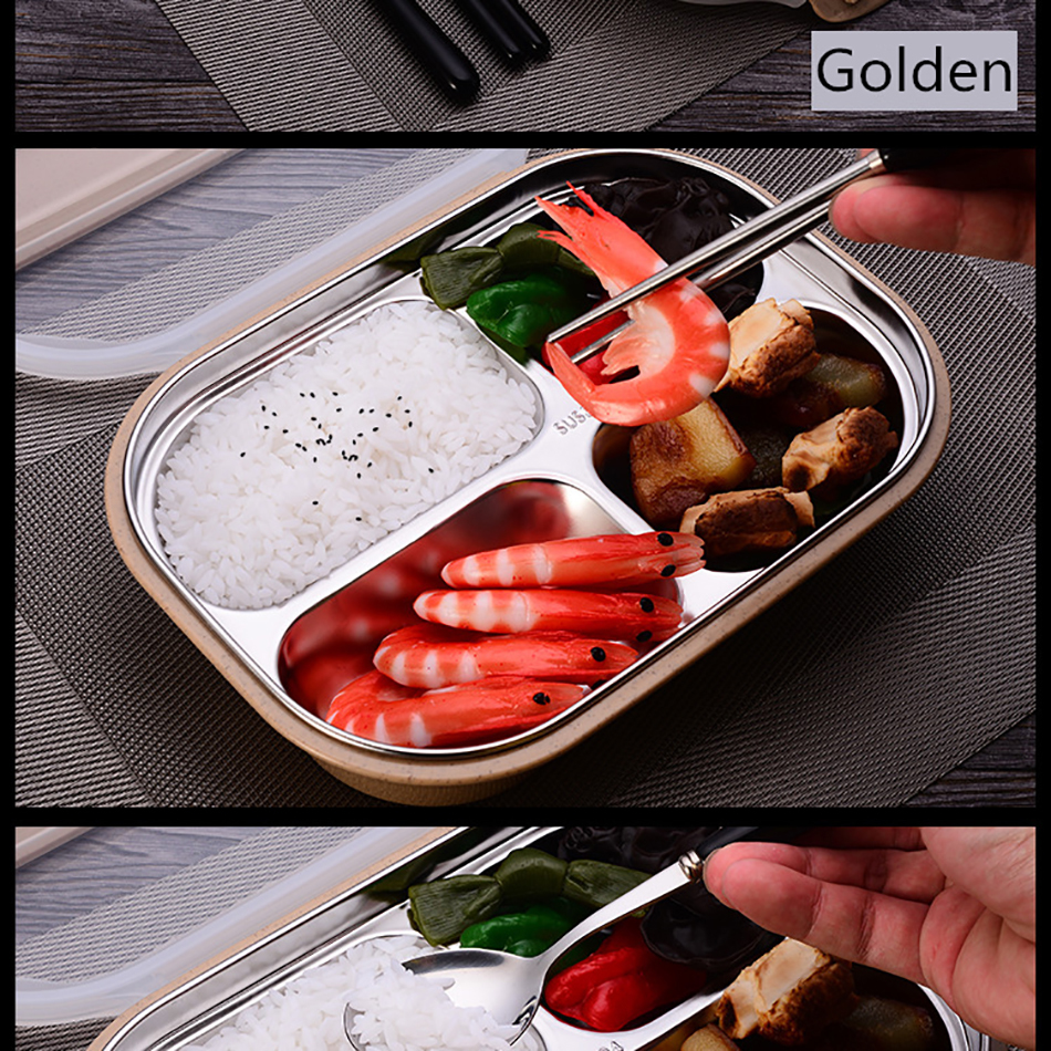 ONEUP stainless steel Lunch box Eco-friendly Wheat Straw Food container with cutlery Bento Box With Compartments Microwavable 17