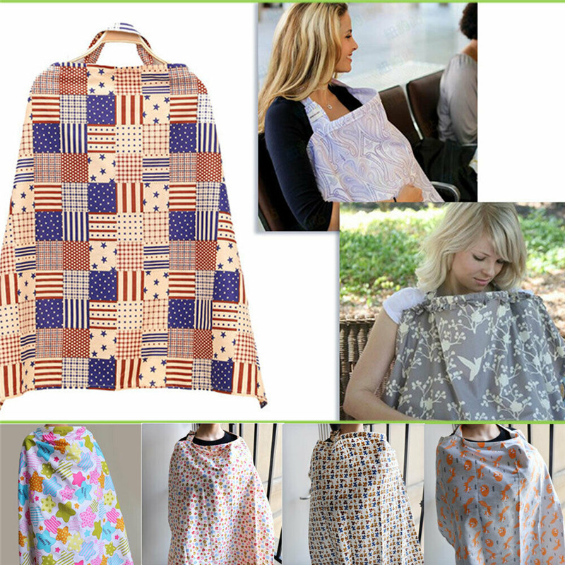 Mum Breastfeeding Nursing Cover Up Baby Poncho Shawl Udder Blanket+Storage Bags