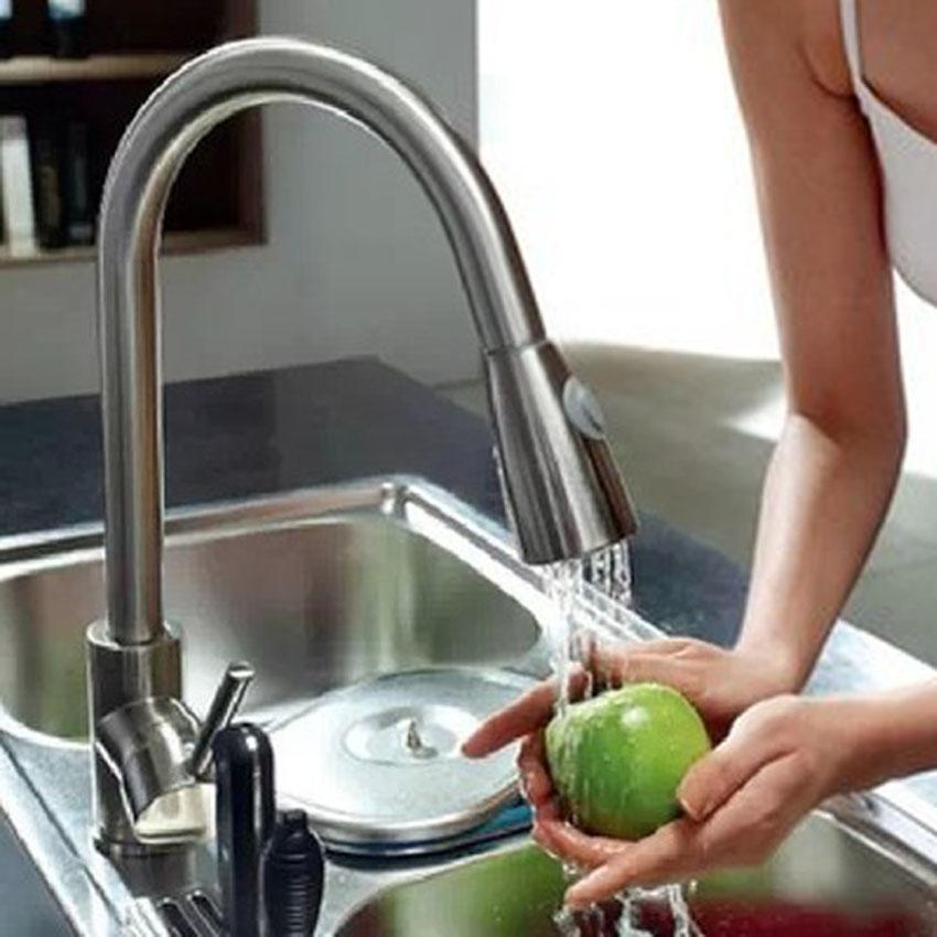 New Fashion 16inch Pull Down Kitchen & Bar Sink Faucet - One Hole / Handle 2 Hoses Chrome New Fashion single handle