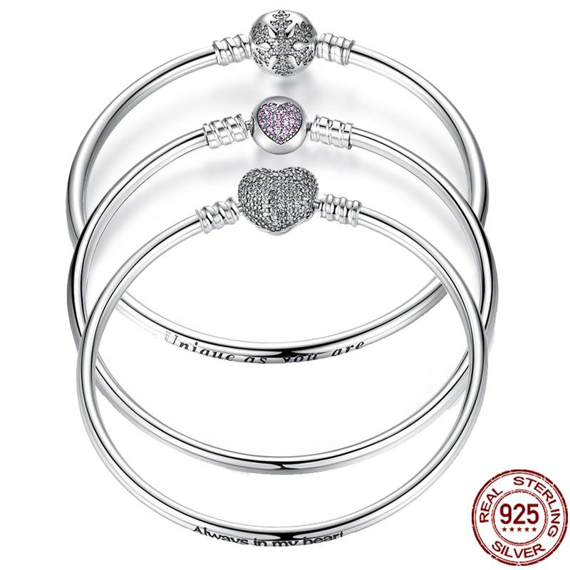 Pulsera de eslabones de cadena de mujer de plata esterlina 925 Joyería Clásico Invierno Copo De Nieve