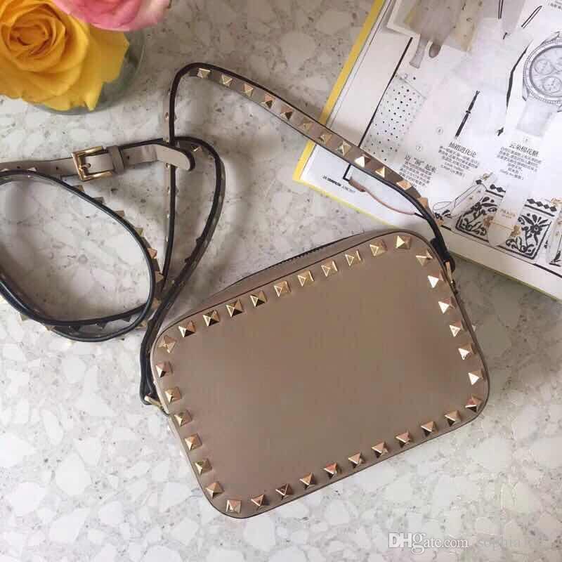 2018 New Fashion Handtasche Schultertasche Lady Bag Gold Rivet Valentinstag Taschen Kameratasche Clutch Kästchen Blank Nude Rotwein Braun Farben
