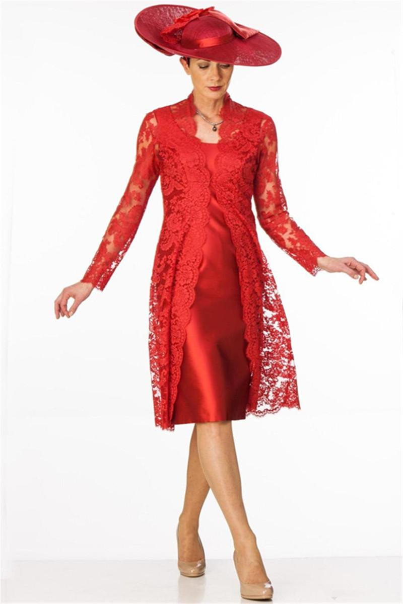 knielänge rot mutter der braut kleid mit spitze-mantel-jacke langarm  formalen gelegenheit wedding gast-kleid-frauen-abend-abschlussball-kleider