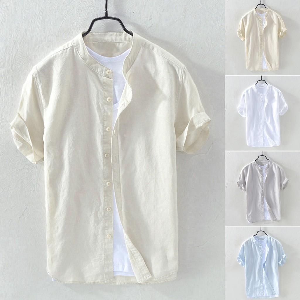 Hawaiian Shirts Linen Men Shirt Men's Baggy Linen Solid Short Sleeve Button Retro Shirts Summer Tops Slim Fit Male Shirt SH190719