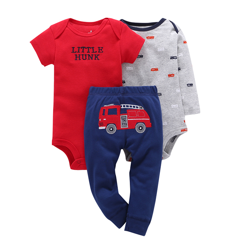 newborn baby boy clothes set cotton o-neck bodysuit+romper+pant baby set for girls 6-24m new born gifts 2018