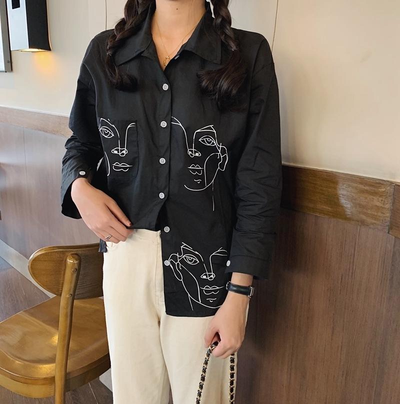 Character Print Shirt Face Black Blouse Casual Tops Harajuku White Office Korean Women Long Sleeve Blusa Ladies Blouses Camisas SH190805