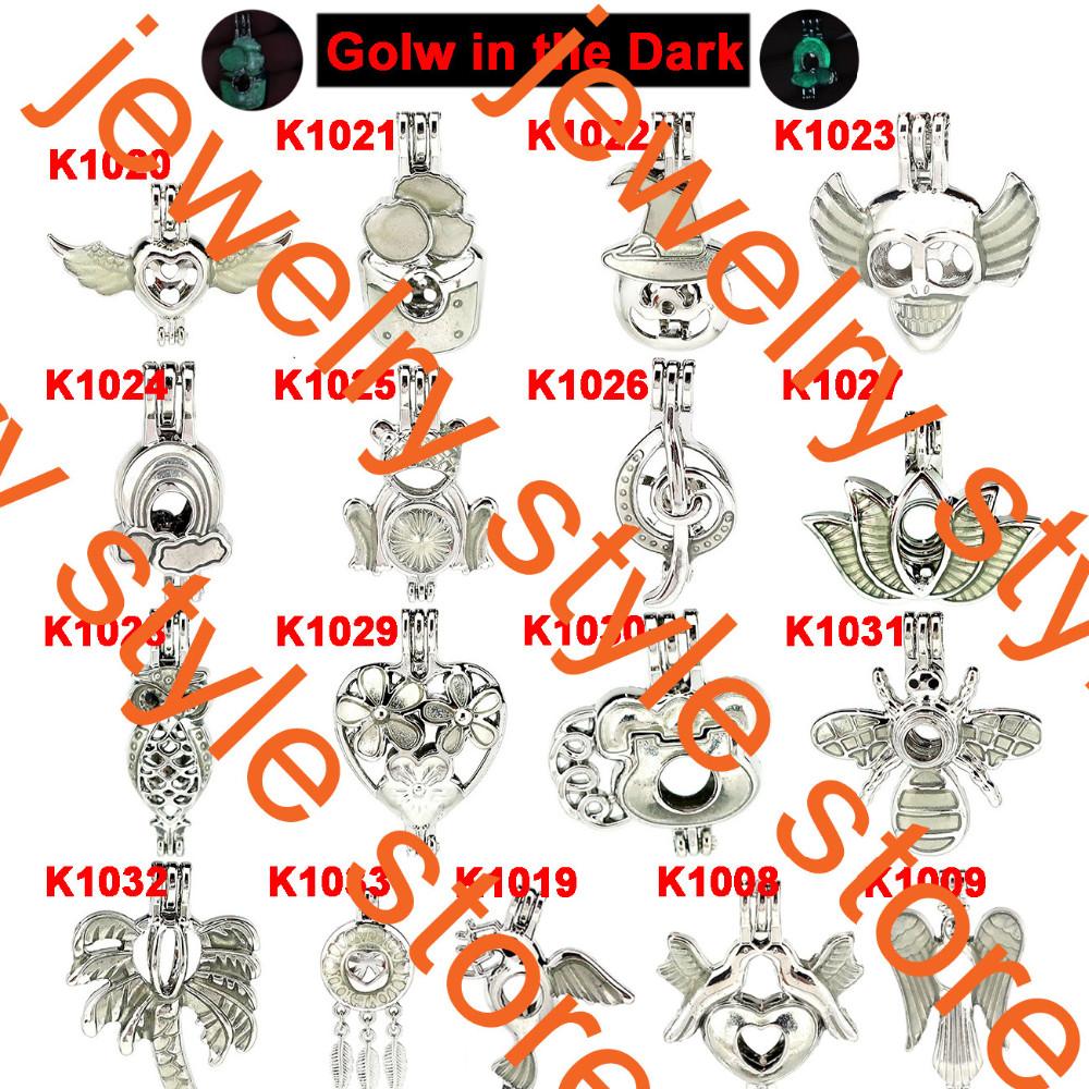 5X-K406 Argent Arc-en-perles Perle Cage médaillon Aromathérapie Pendentif