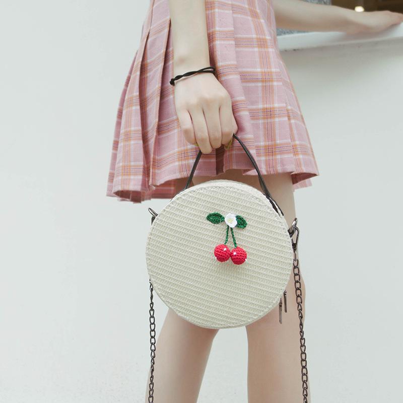New Women Circle Handbag Summer INS Popular Female Straw Bag Cherry Lady Knit Shoulder Bag Fashion Holiday Crossbody SS7314 (11)