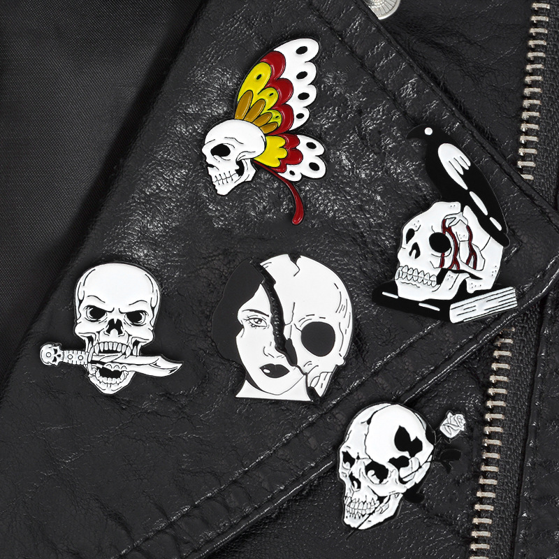 Gothic Brooch Half Face Butterfly Skull Skeleton Bird Death God Creative Horror Thriller Pins 2019 New Arrival Jewelry