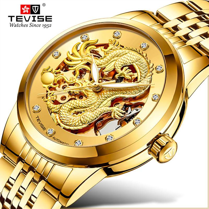 Tevise Luxury Golden Dragon Design Mens Watches Stainless steel Skeleton Automatic Mechanical Watch Waterproof Male Clock