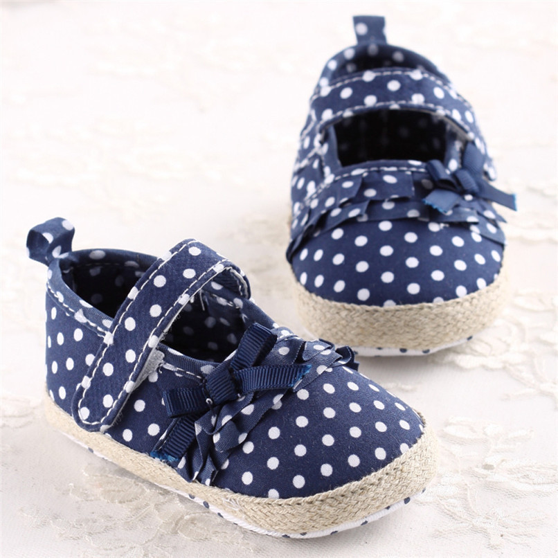 Baby Girls Shoes Fashion Newborn Infant Baby Girls Canvas Polka Dot Bowknot Shoes Soft Sole Anti-slip First Walker M8Y04 (9)