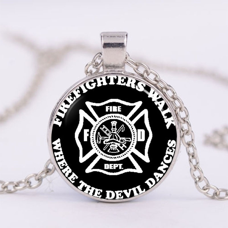 Necklace Firefighter Photo Tibet Silver Cabochon Glass Pendant Chain Necklace
