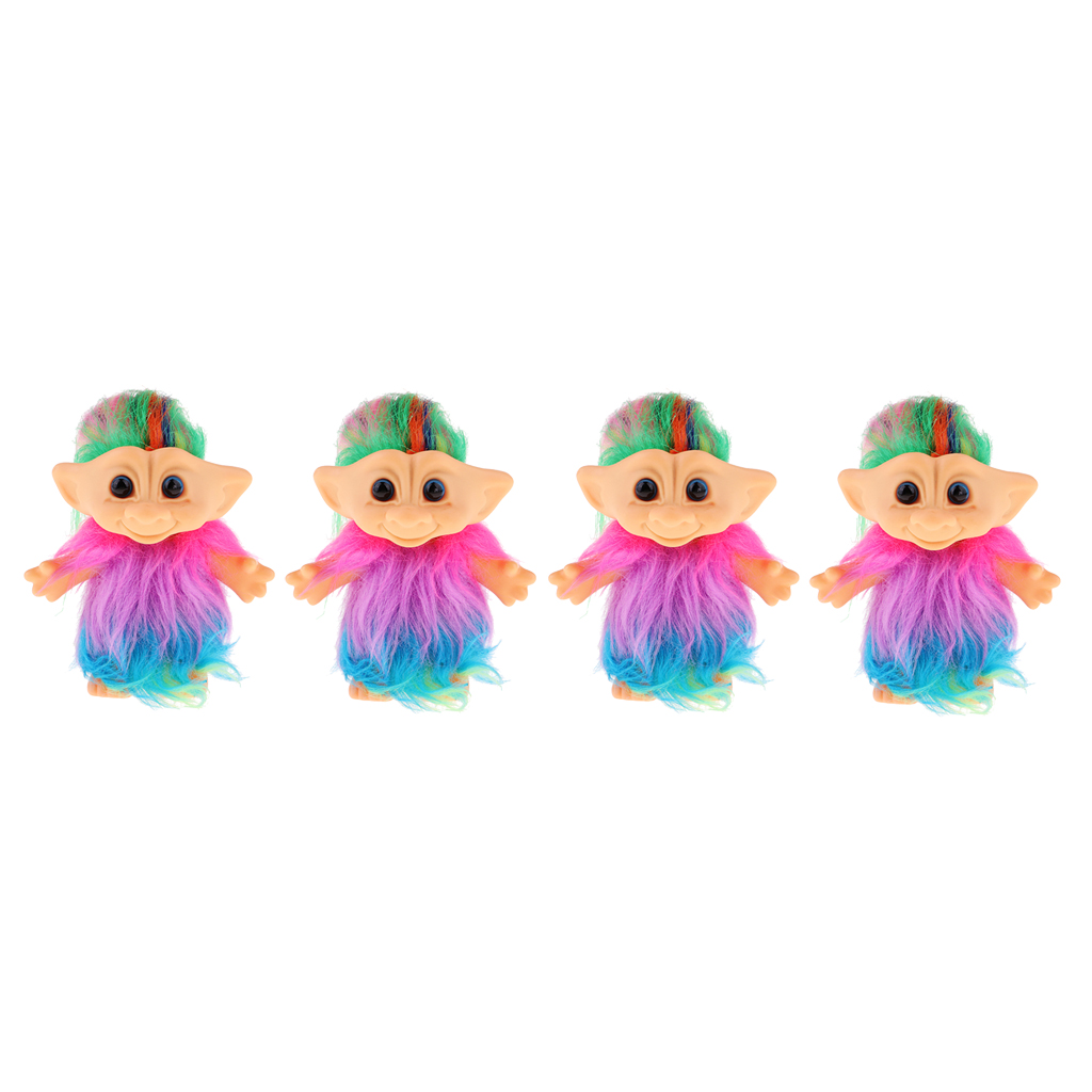 Set of 4 Pieces Chromatic Plush Lucky Troll Doll Mini Action Figures Toy for Cake Toppers/ Dollhouse Decor