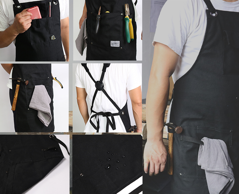 WEEYI Heavy Duty Waxed Canvas Workshop Apron for Men with Pockets Cross Back Strap in Black for Woodworker Cobbler Small to XXL (3)
