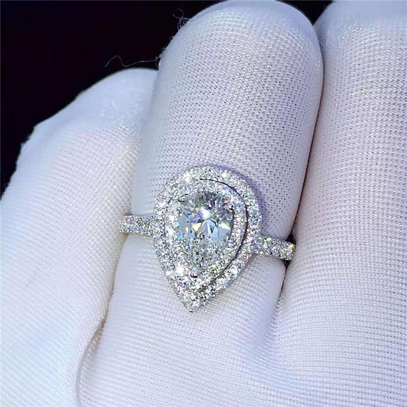 Élégant Infinity Argent 925 anneaux de mariage pour femmes Blanc Saphir Bague Taille 6-10