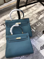 25cm 28CM Brand Totes New color peacock blue Genuine leather...