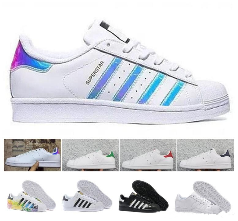 Top Quality 2019 Originals Superstar Stan Smith Men Women Raf Simons All White Black Red Green Super Star Stansmith Casual Shoes 36-44