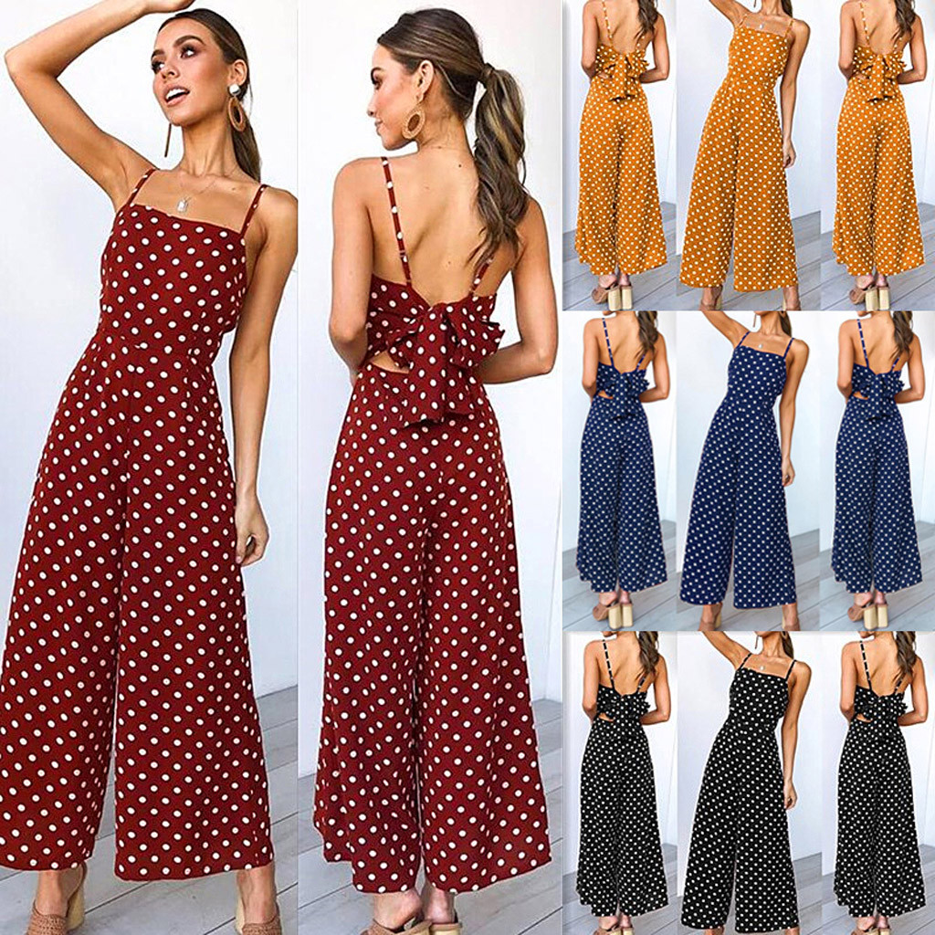 wholesale Fashion Womens Polka Dot Holiday Wide Leg Pants Long Jumpsuit Backless Strappy Playsuit mamelucos womens jumpsuit M300103