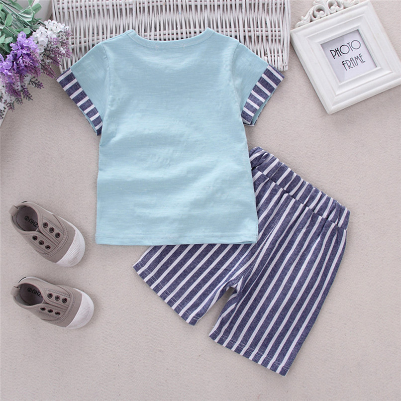 2PCS Baby Boys Sets Toddler Infant Kids Baby Boys Short Sleeve Cartoon Pencil T-shirt Tops+Striped Pants Set Baby Clothes M8Y18 (12)