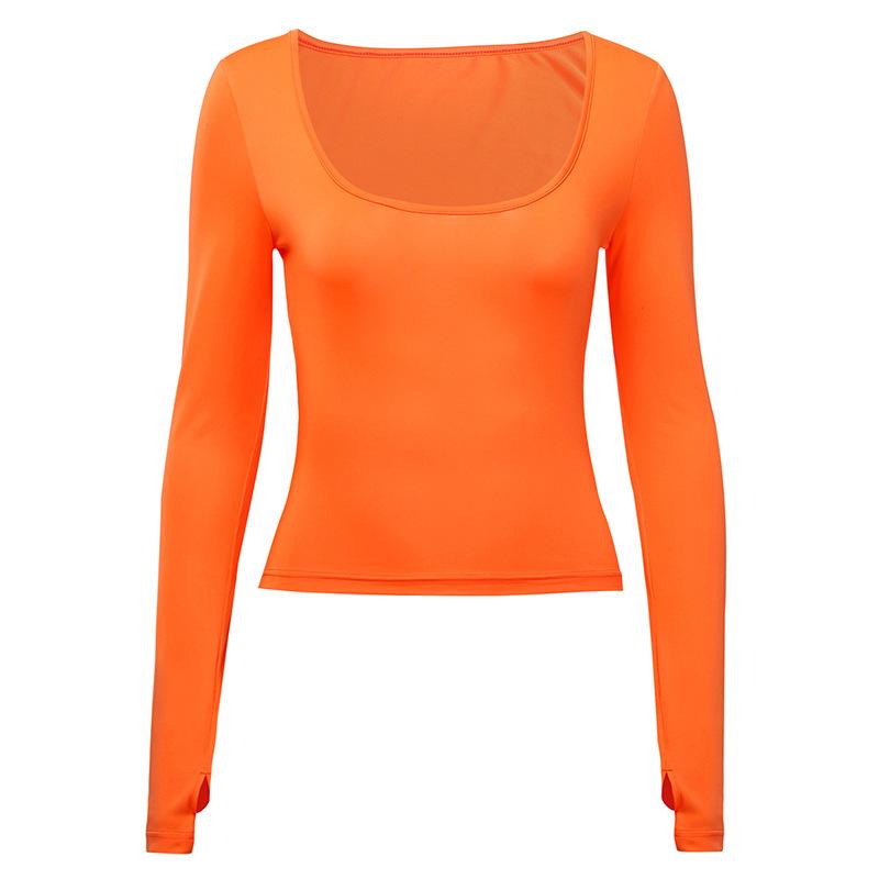Poitrine Casual et à la mode Grand type T-shirt U-COU 3 couleurs manches longues Pouce Bouton Haut pour les femmes en Automne Hiver