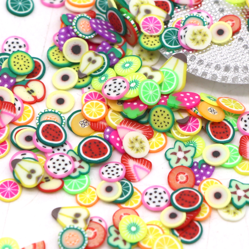 Vopregezi /pack Nail Art 3d Fimo Fruit Slices Polymer Clay Nail Designs Stickers Manicure Decorations DIY Tips Accessoires D18120801