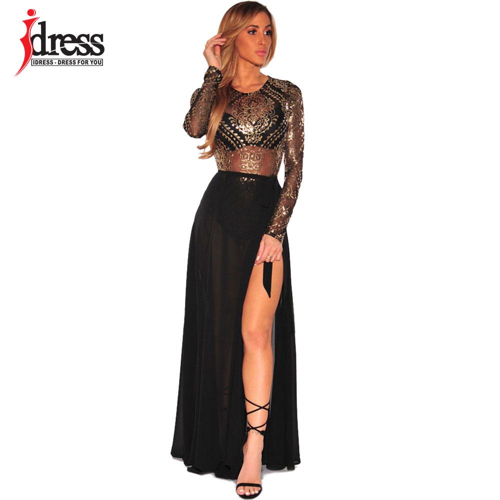 IDress 2018 Autumn Bodysuit Women Sexy O-Neck Gold Print Lace Jumpsuit Romper Black Party Elegant Jumpsuit Overalls For Women (3)