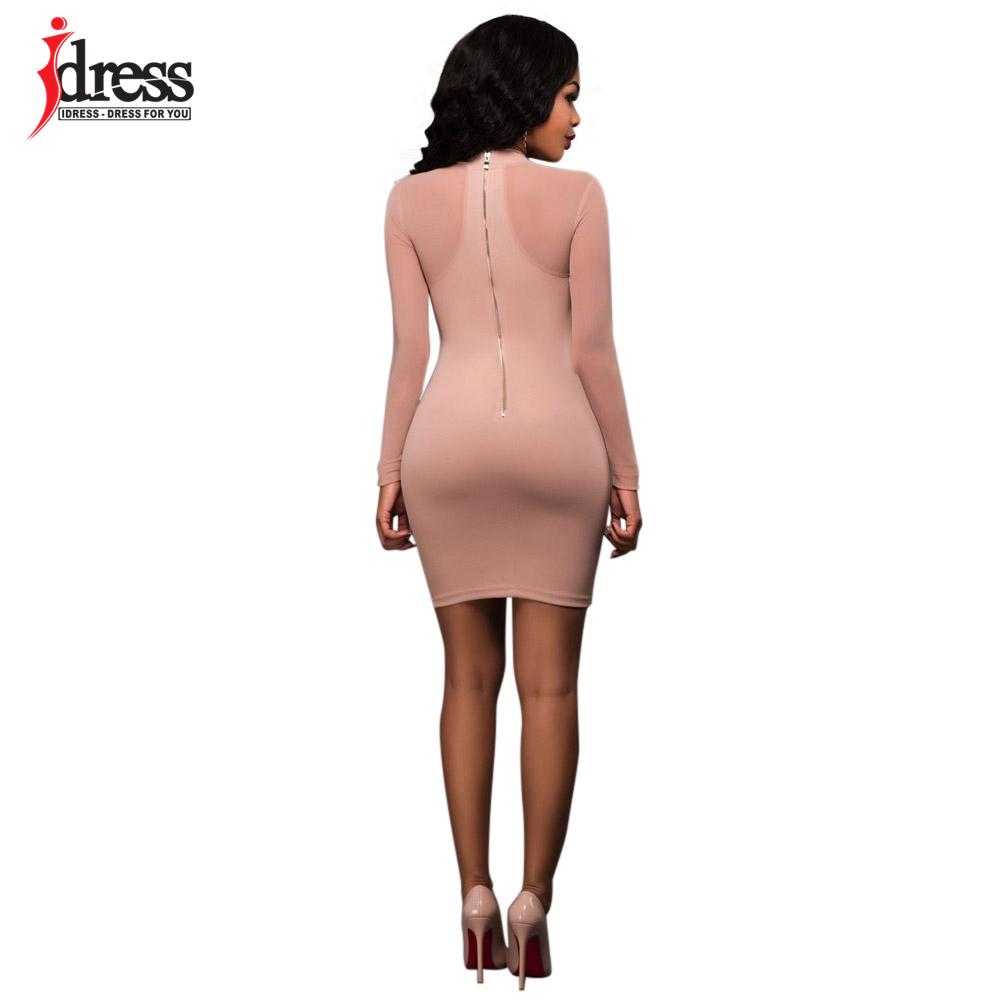 IDress 2017 New Arrival Womens Autumn Winter Long Sleeve Bodycon Bandage Sexy Club Vestido De Festa Black Khaki Short Lace Dress (3)