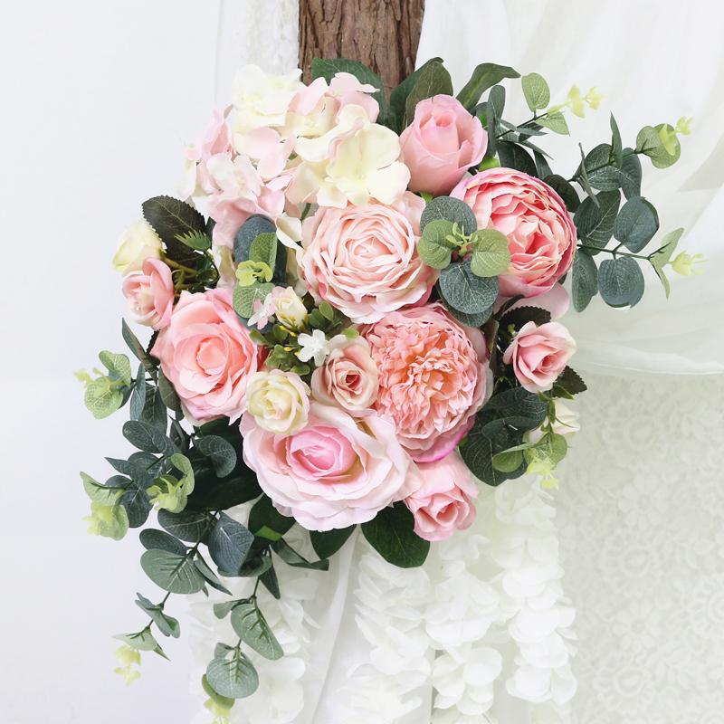 JAROWN Artificial Rose Flower Row Small Corner Flowers Simulation Silk Fake Flowers Wedding Decor Home Garland Decor Flores (1)