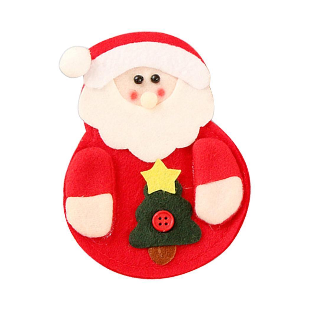 Weihnachten Weihnachtsmann Schneemann Elk Gabel Inhaber Tasche Tisch Xmas Deko F