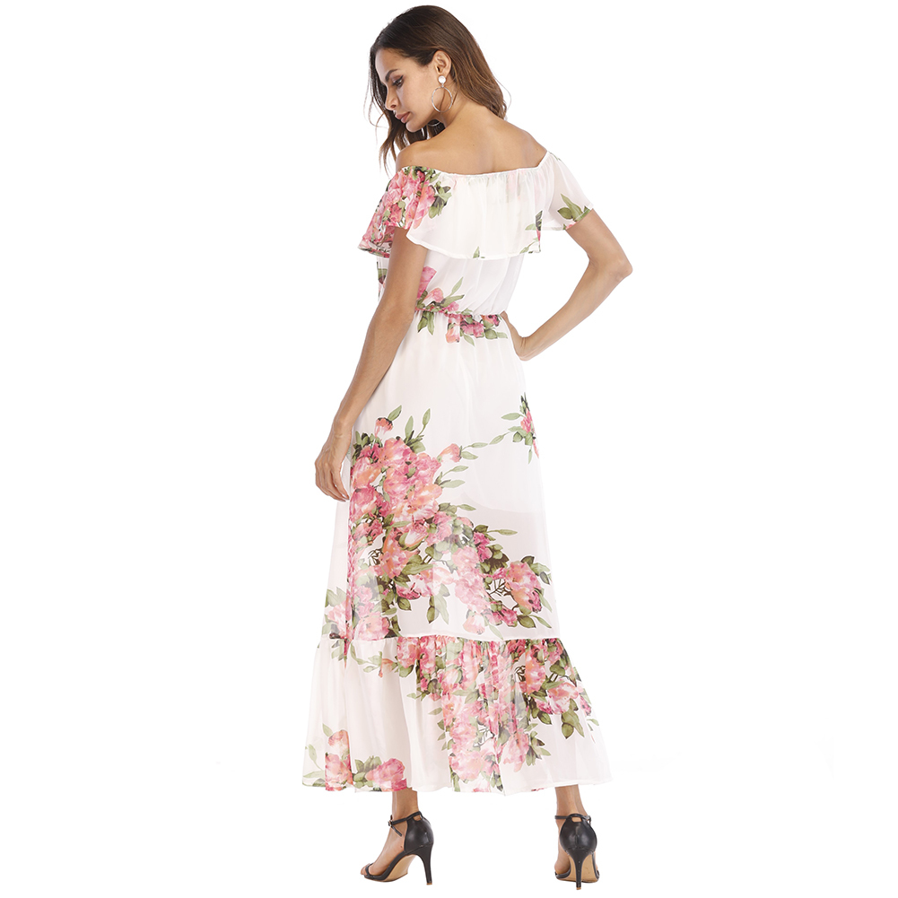 Sexy Women Chiffon Maxi Dress Off Shoulder Floral Print Ruffles Summer Beach Dress 2018 Elegant Holiday Slim Long Dress White