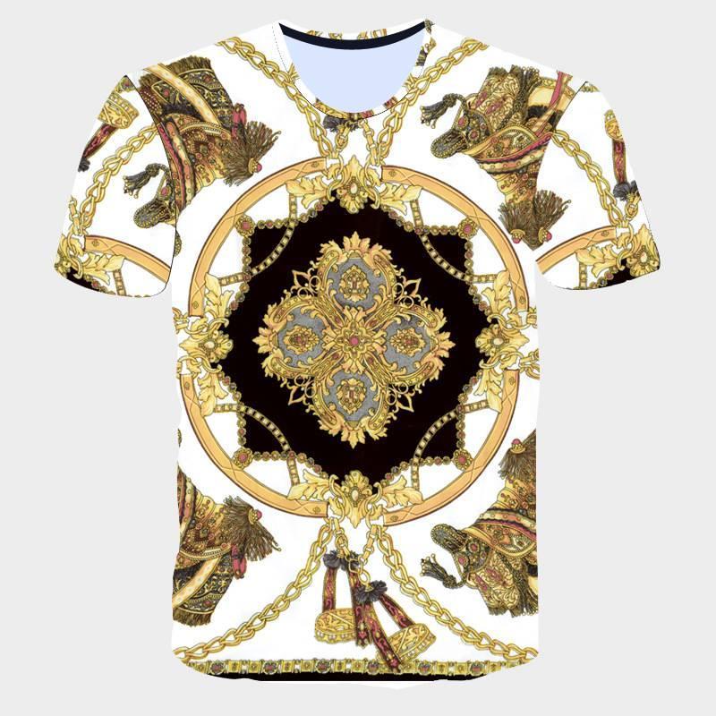 2017 New Summer Men T-shirt Fashion 3D Golden Flower T-Shirt Men Luxury Brand Clothing Gothic Sculpture Print Short Sleeve Tops (16)