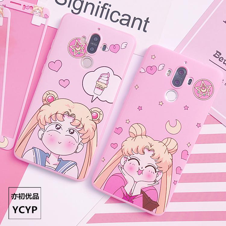 Funda Sailor Moon P20 pro + Película de pantalla de cristal templado, funda rosa para Huawei Nova2S / 3 / 3E / P20 / P10 / P10plus / mate9 / 10 Contraportada