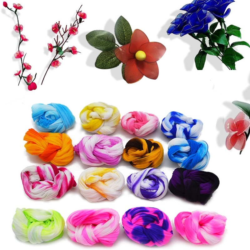 5pcs Gradient Tensile Nylon Stocking DIY Flower Making Material Handmade Craft Accessory Wedding Home DIY Nylon Flower