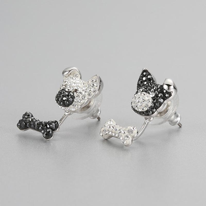 PANDOO Moda Charm Gümüş Orijinal 1: 1 Kopya, sevimli Yavru Kemik Eğlenceli Tam Saplama Küpe Kadınlar Lüks Takı hediyeler