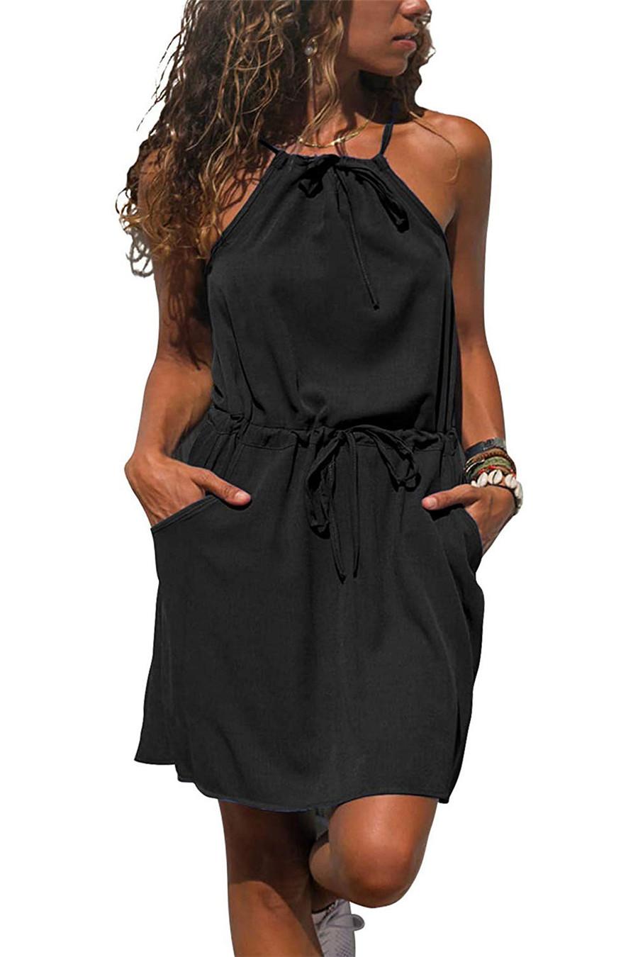 Gladiolus Chiffon Women Summer Dress Spaghetti Strap Floral Print Pocket Sexy Bohemian Beach Dress 2019 Short Ladies Dresses (41)