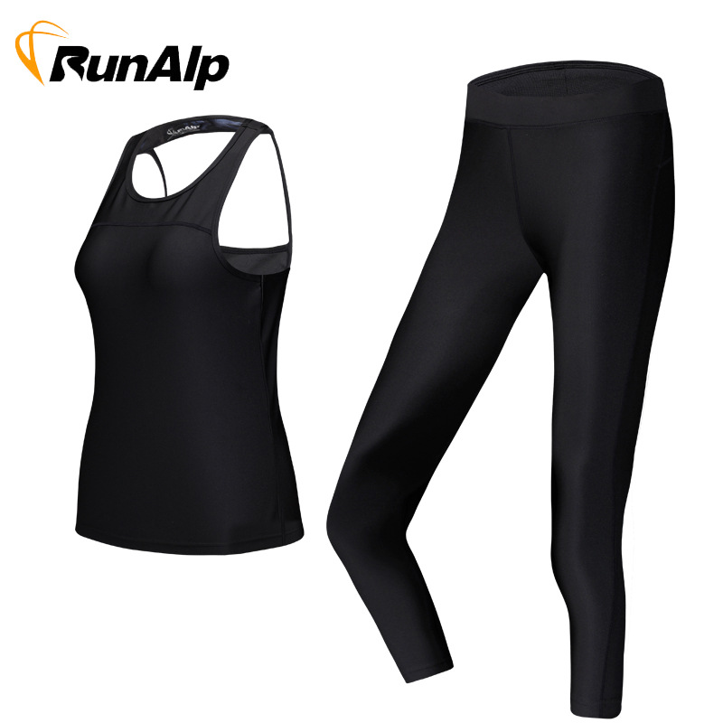 RunAlp Tracksuit For Women Yoga Workout Fitness Running Athletic Sports Gym Tank Top Pant 2 Piece Set (4 Colours