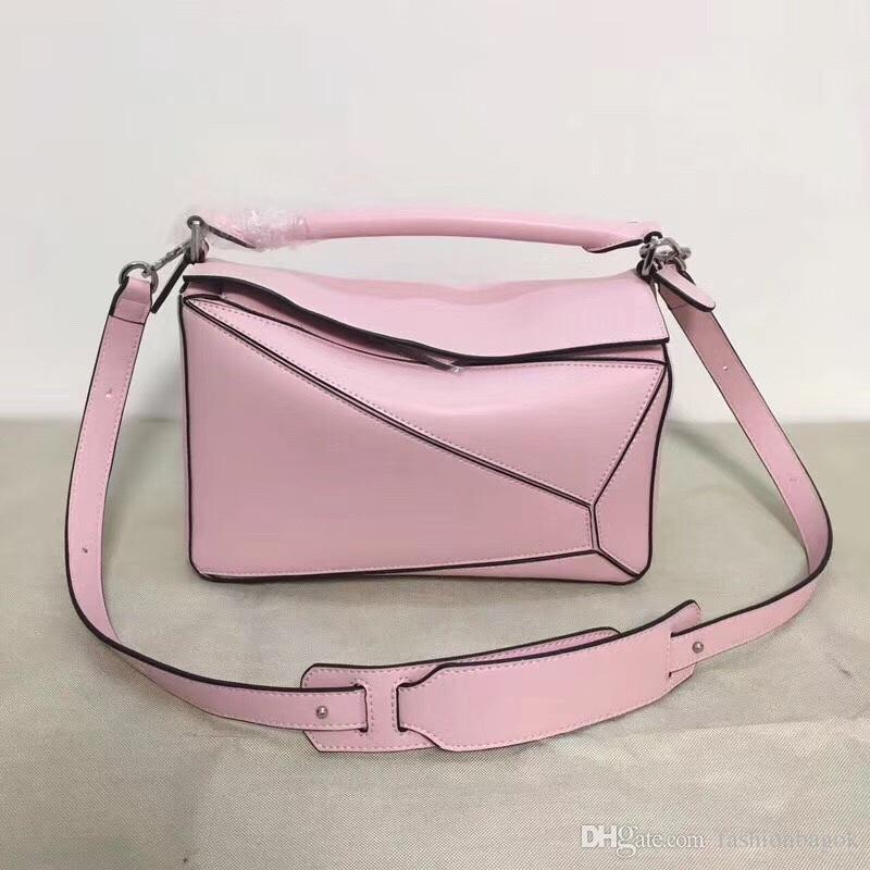High Quality 2018 New Style Fashion Genuine Leather Puzzle Bag Women Shoulder Bag Geometric Handbag Evening Bag