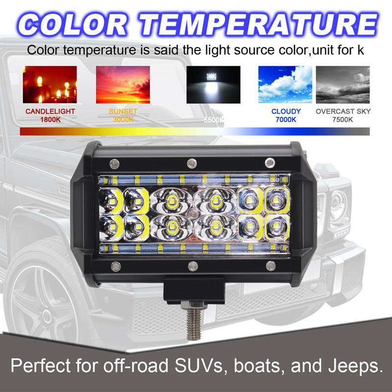 "7/"" 120W Flush Mount LED Pods Spot Combo 6000k Work Light Bar SUV 4WD Off Road"
