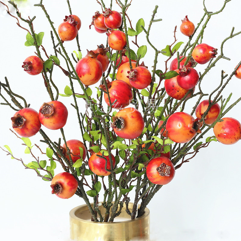 New artificial flower long branch single persimmon pomegranate apple berry fake flower home living room decoration fruit tree