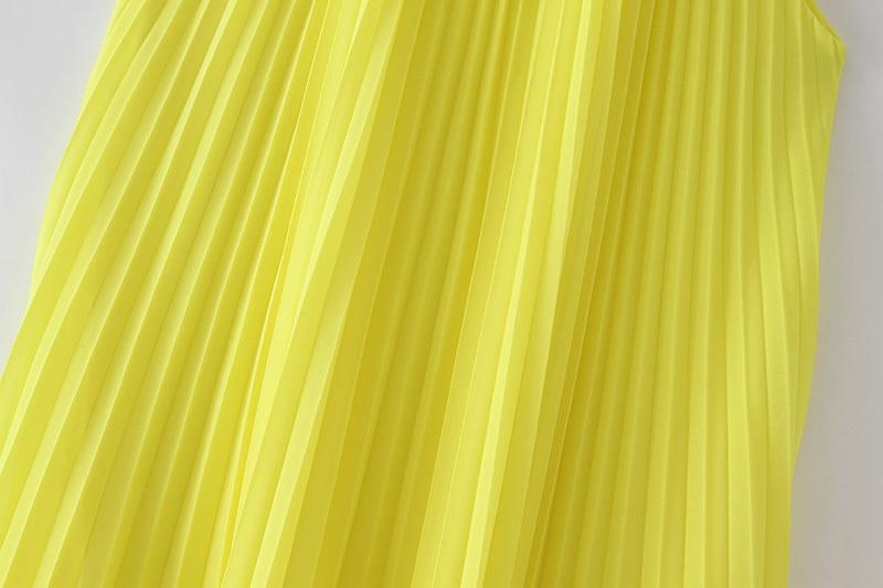 Vadim Femmes Jaune Mousseline De Soie Mini-robe Droite Halter Sans Manches Mignon Droit Femme Élégant Plissée Robes Robes Qb567 J190710