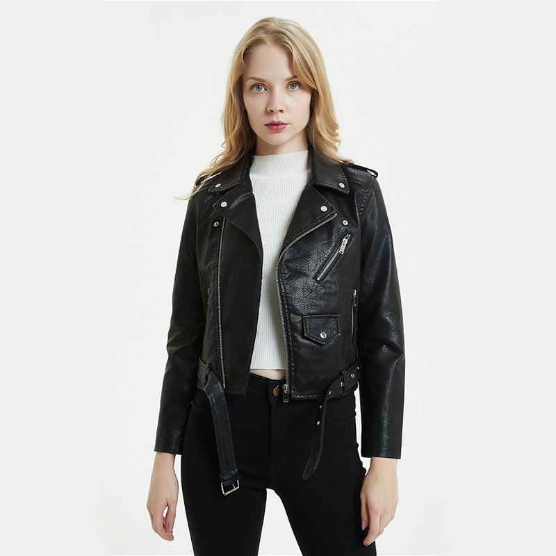 Donna Giacca Di Pelle Ecopelle Giacca Giacca di Pelle Donna Giacca Jacket Biker Giacca b/_8