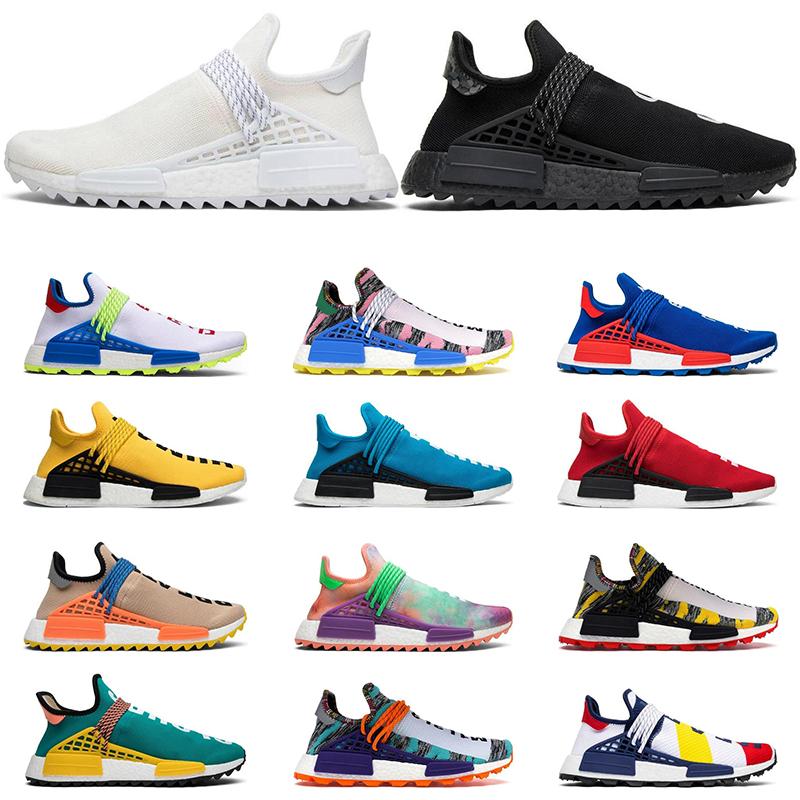 Adidas NMD boost Human race Course humaine Hu piste Pharrell Williams x Nerd hommes chaussures de course noir blanc crème SOLAR PACK mens formateurs