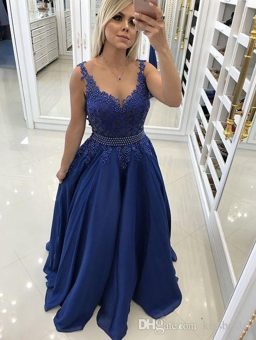 Compre Vestidos De Fiesta Azules 2019 Grano De Encaje Escote Redondo Sin Mangas Vestidos De Noche Vestido De Cóctel De Fiesta Vestido De Dama De Honor