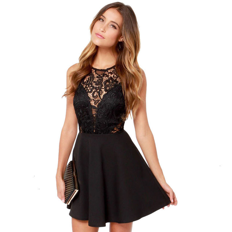 Fashion summer dress women beach dress Casual Backless Prom Cocktail Lace Short party Mini Dress vestido de festa J27#N (8)