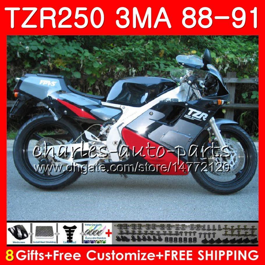 Body For YAMAHA TZR-250 3MA TZR250 88 89 90 91 118HM.22 TZR250RR TZR250 RS RR Silver black hot YPVS TZR 250 1988 1989 1990 1991 Fairing kit