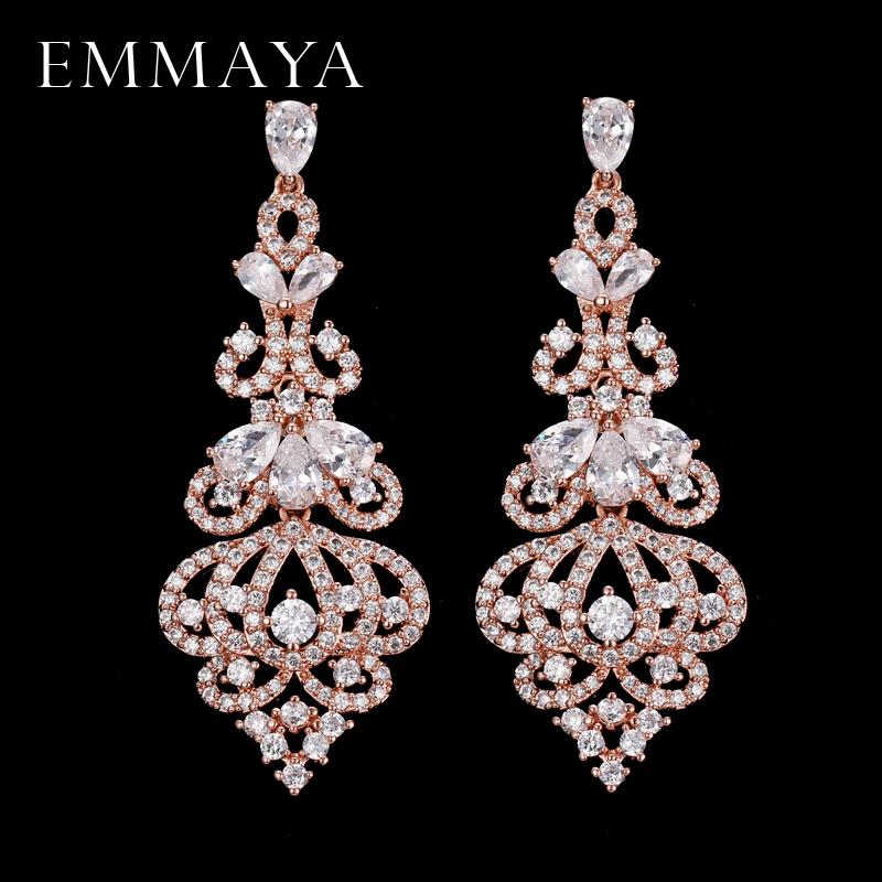 Emmaya elegent noite jantar parte jóias de casamento de luxo longo cz cristal grande queda oscila brincos para noivas y19062703