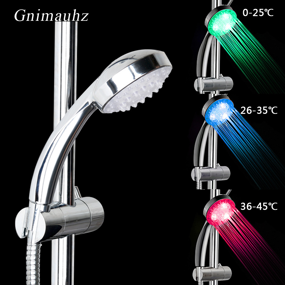 LED Changing Shower Head water Temperature Sensor Sensing Bathroom Nozzle Automatic Control Colorful Sprinkler Led Shower head Y200109