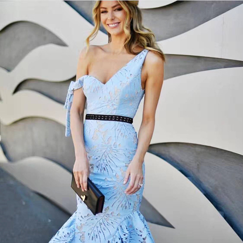 Sexy Light Blue Lace Dress Midi 2019 Runway Summer One Shoulder Mermaid Elegant Party Long Dress Bodycon Vestidos Tunic Clothes J190511
