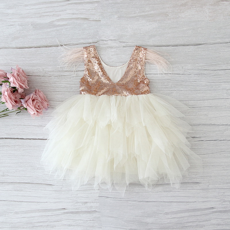 69-4-Feather Sequins Tiered Girls Dress